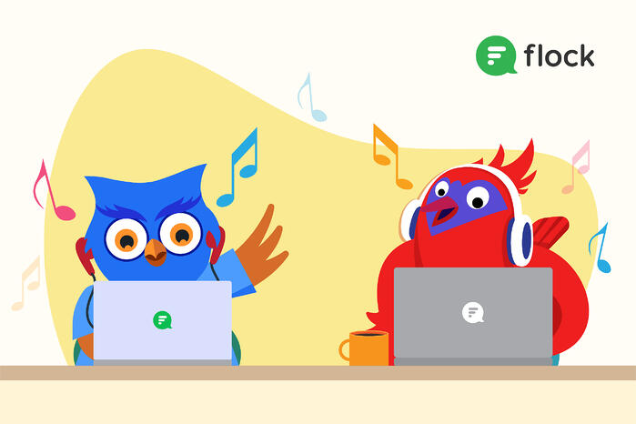 Two birds working on their laptops and listening to music with headphones