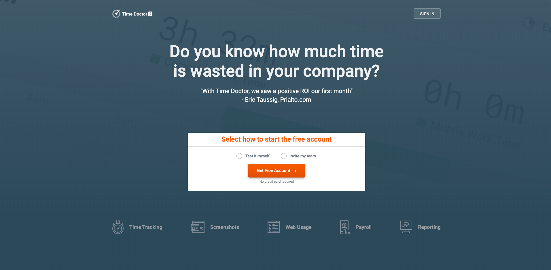 timedoctor homepage screenshot