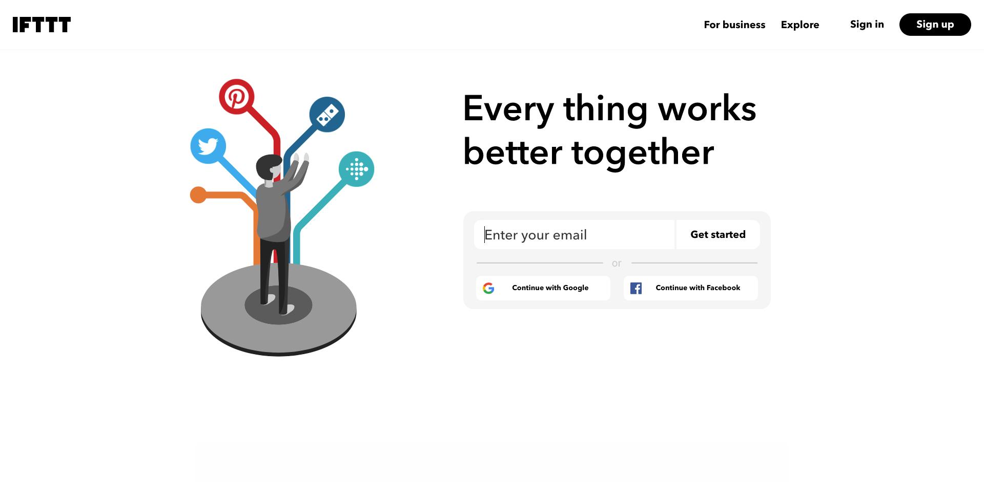 IFTTT homepage screenshot