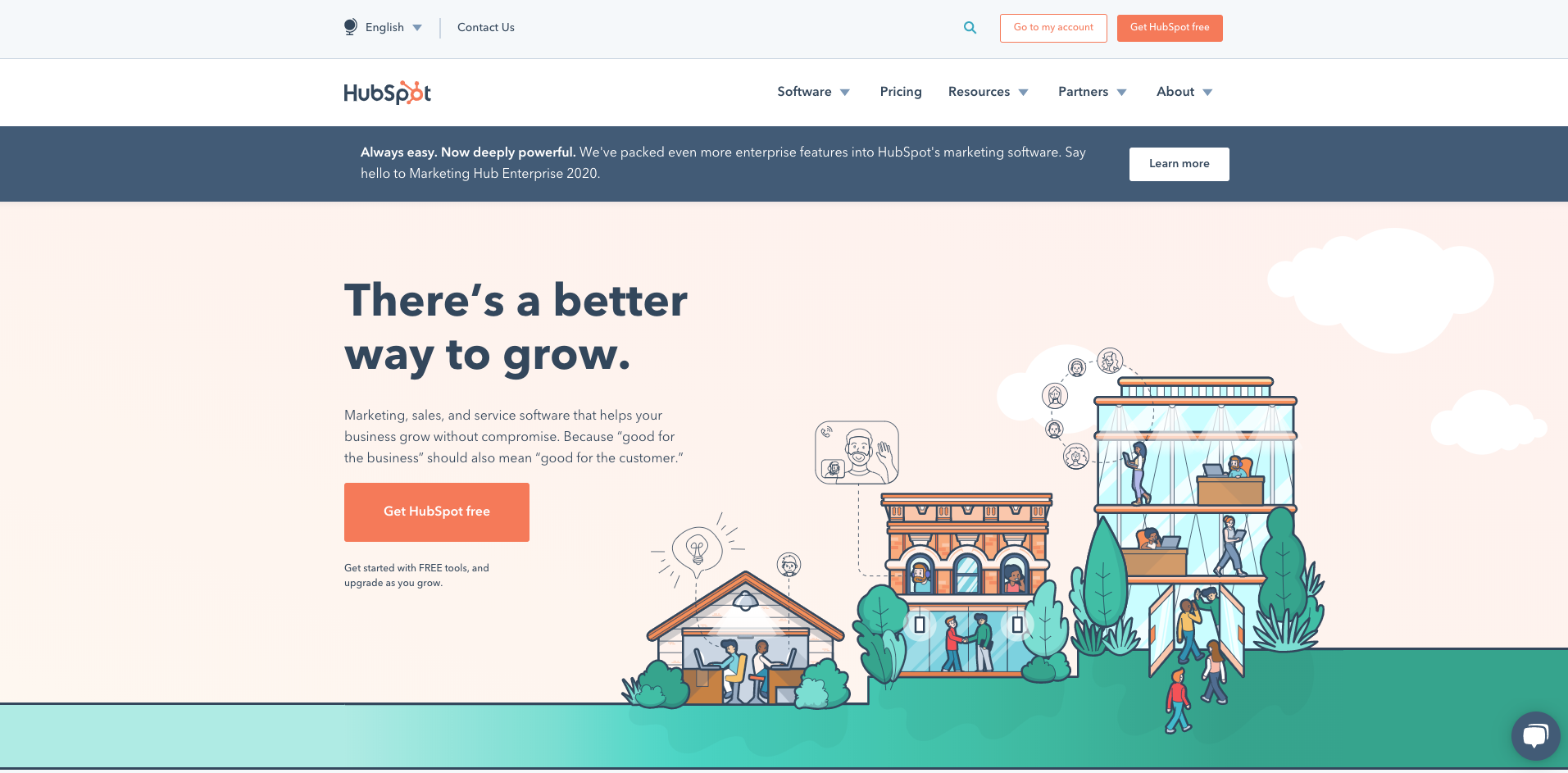 hubspot homepage screenshot