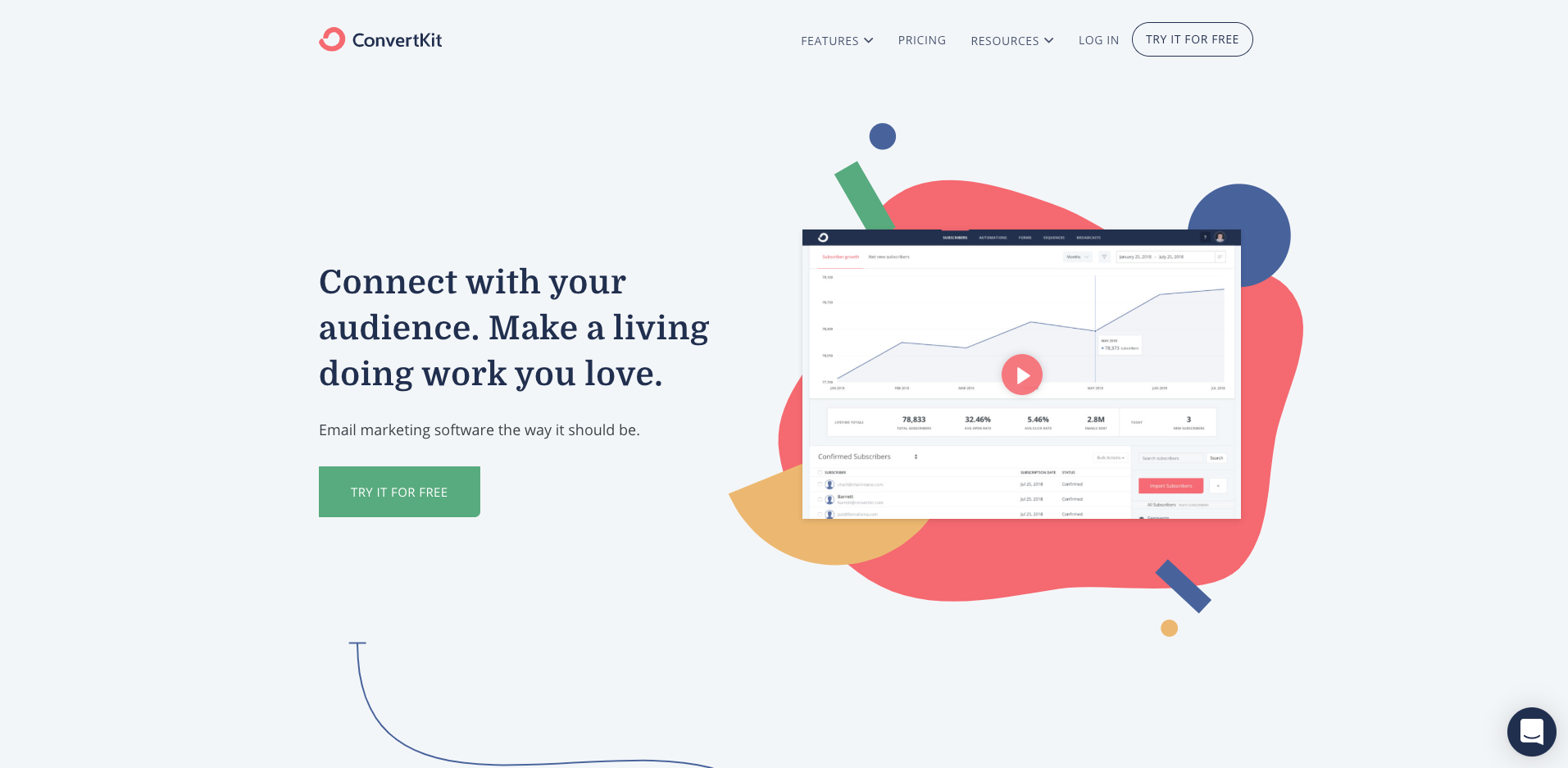 convertkit homepage screenshot