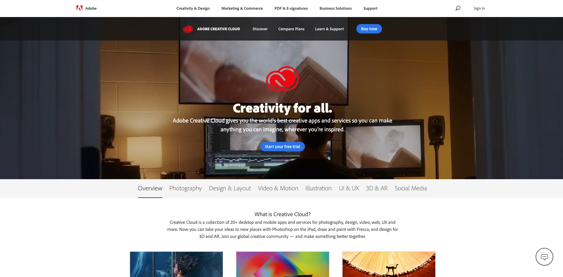 adobe creative cloud homepage screenshot