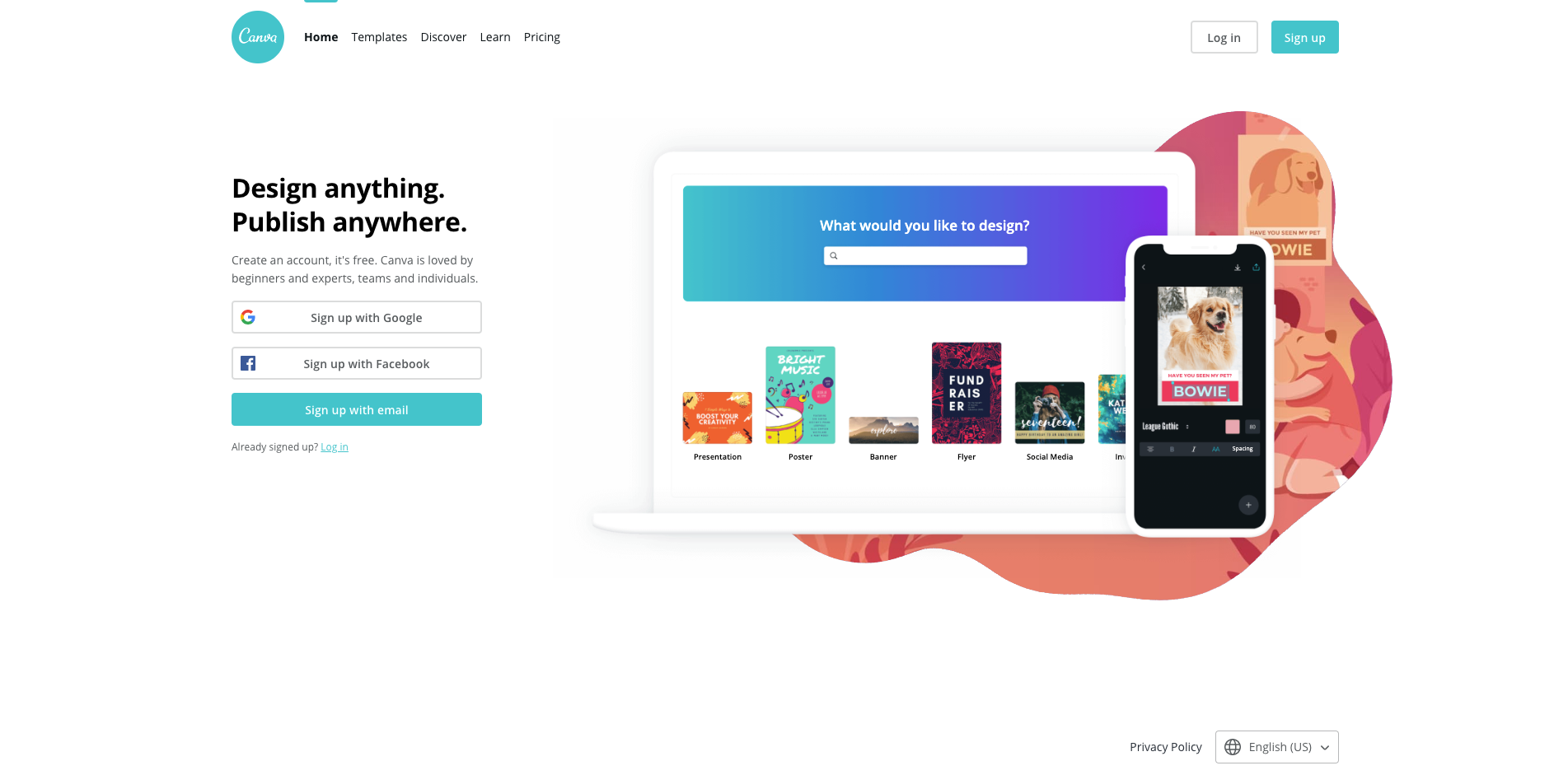 canva homepage screenshot
