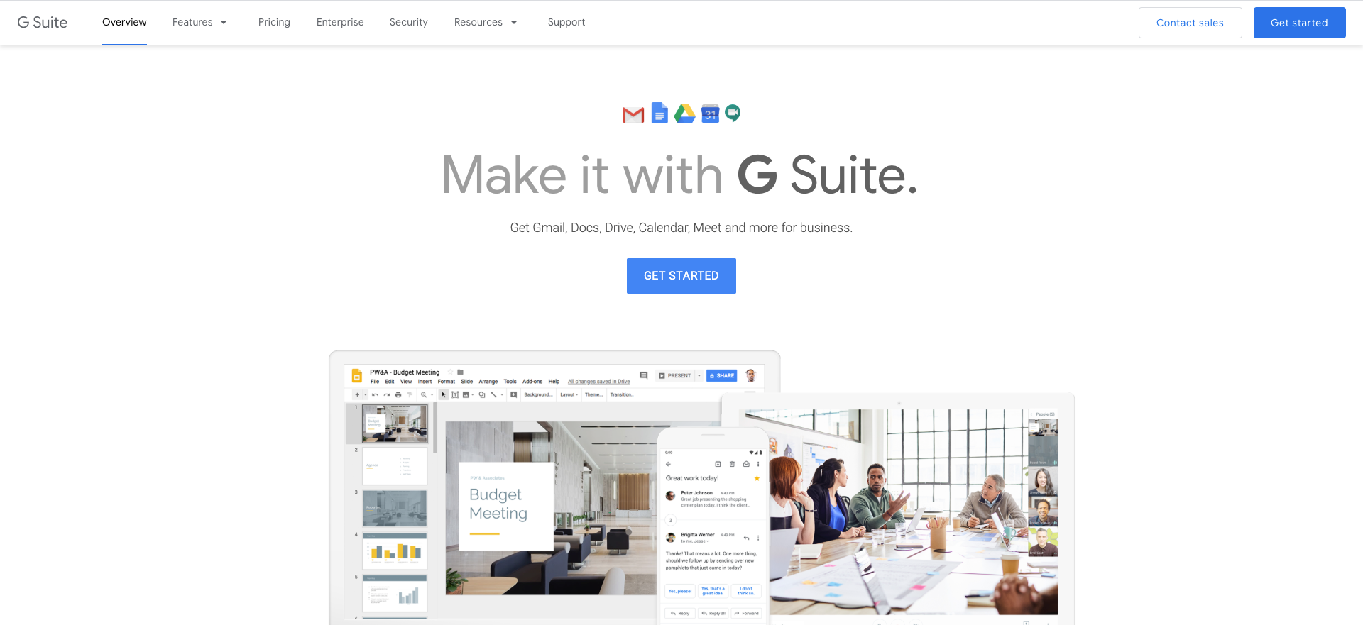 gmail for gsuite homepage screenshot