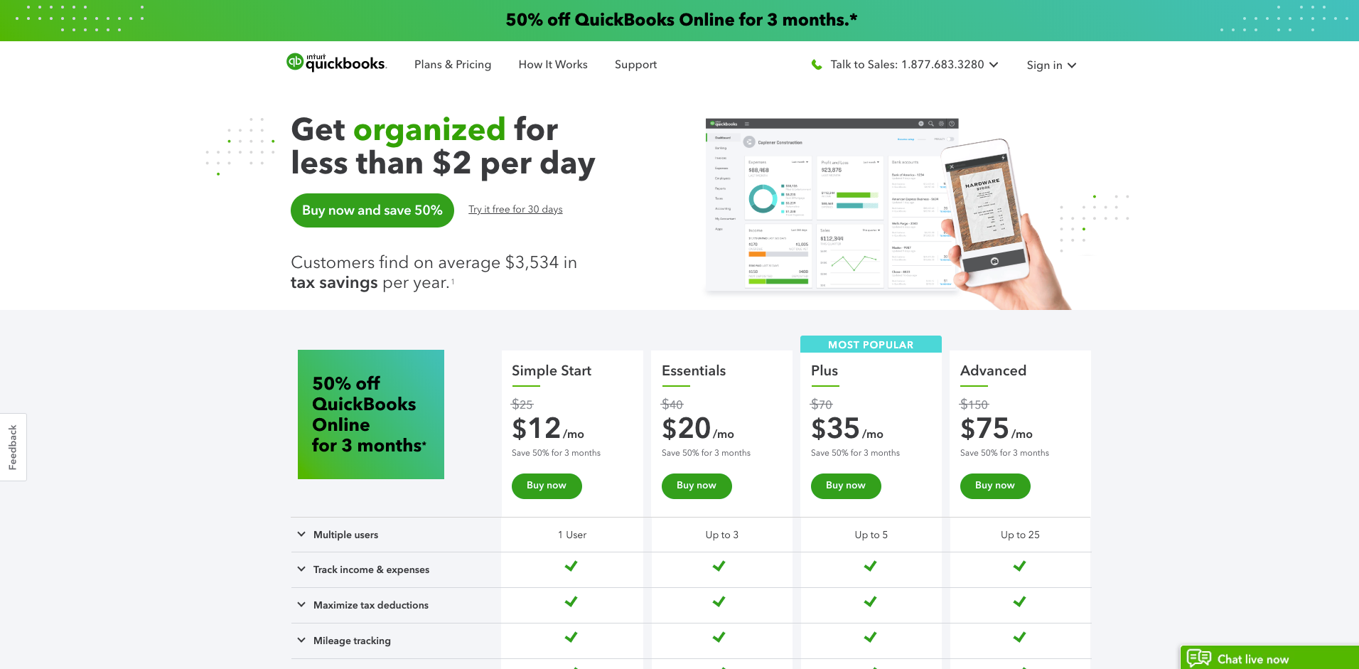 Quickbooks website homepage screenshot