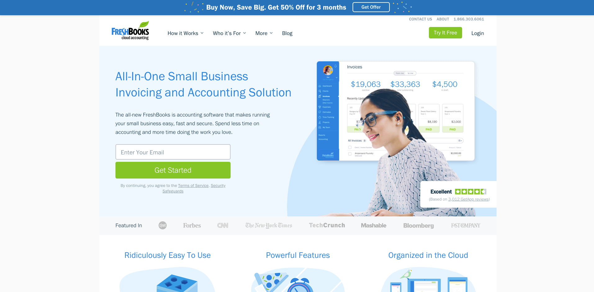 freshbooks website homepage screenshot