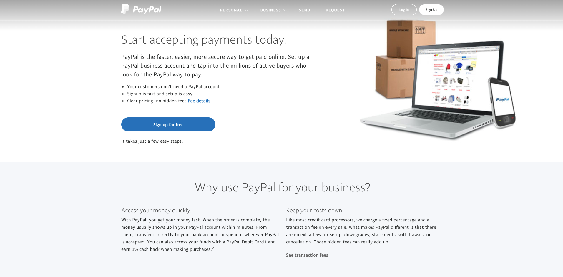 PayPal website homepage screenshot