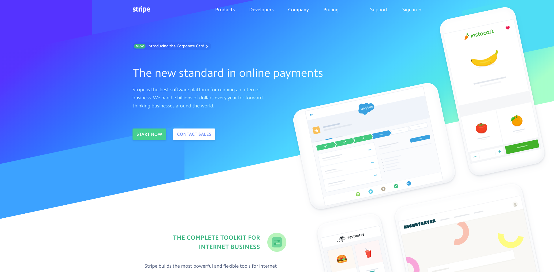 Stripe website homepage screenshot