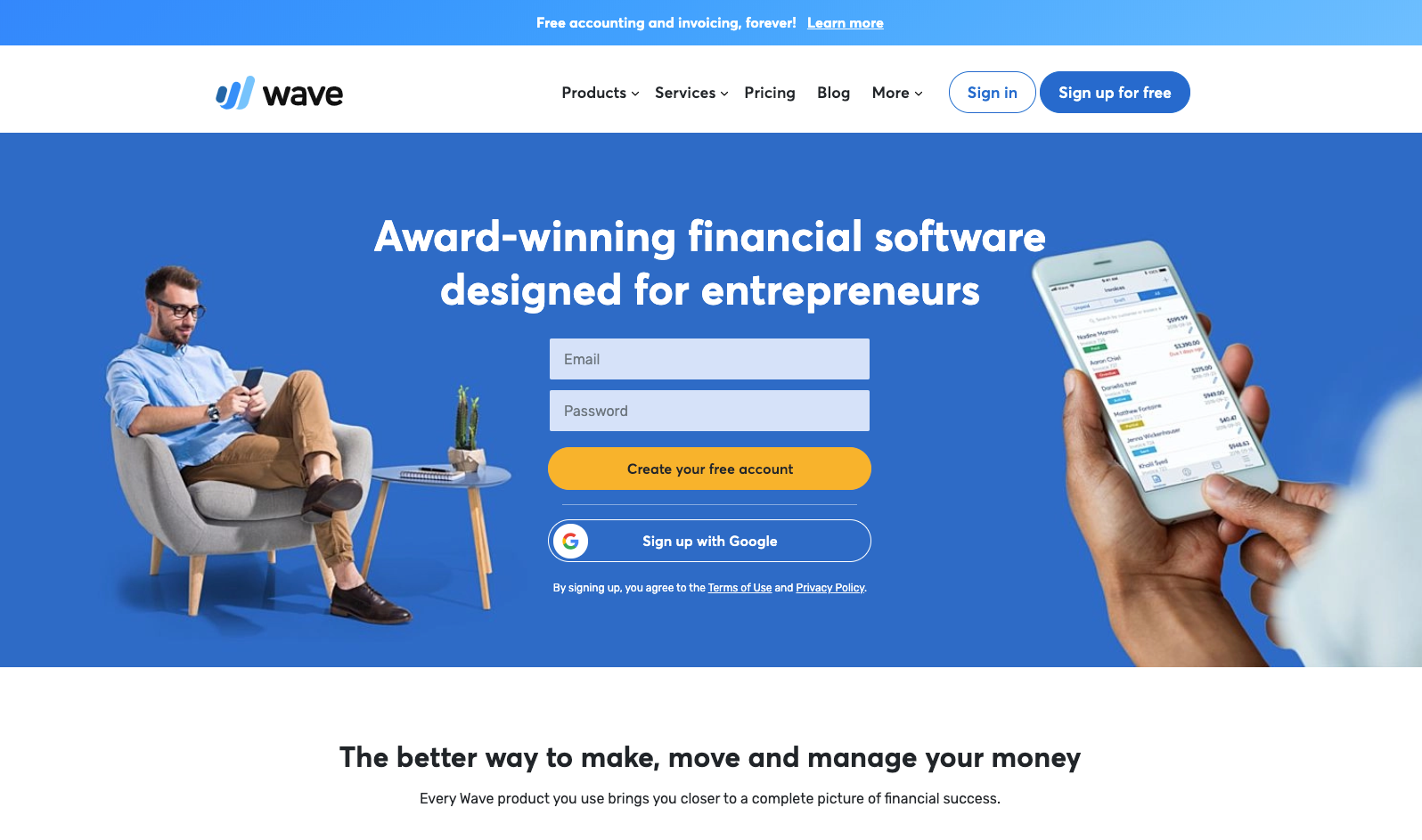 wave website homepage screenshot