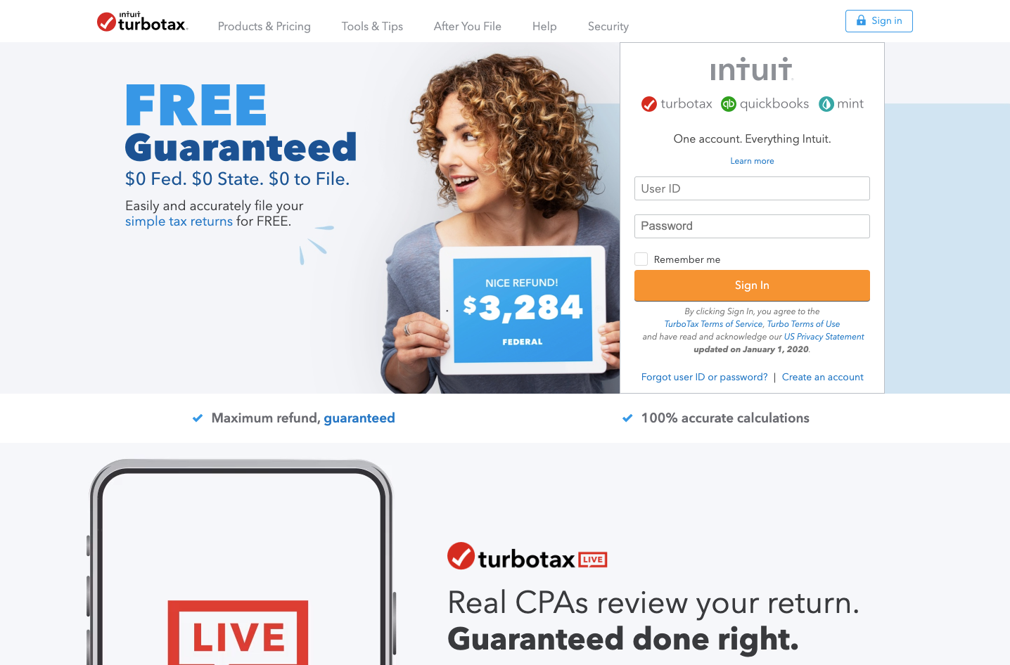 turbotax website homepage screenshot