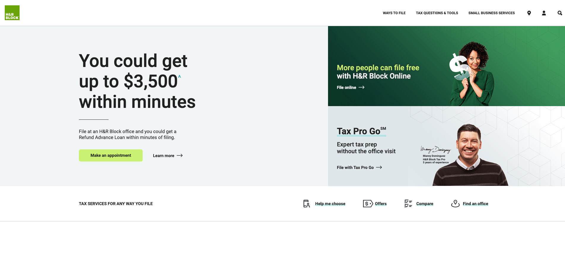 H_R Block website homepage screenshot