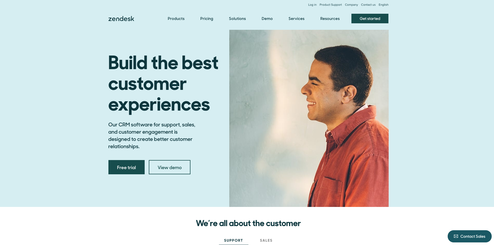Zendesk website homepage screenshot