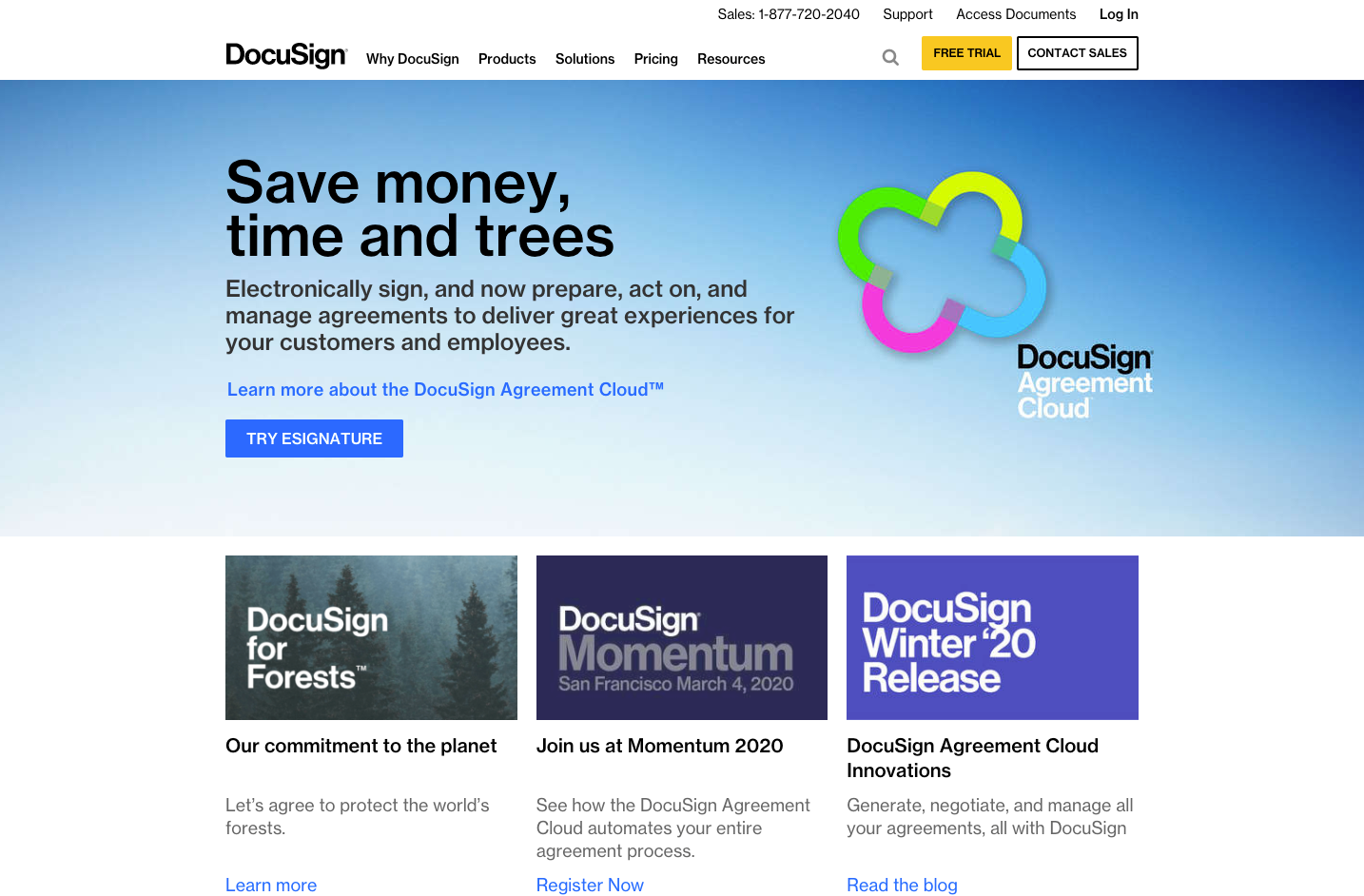 DocuSign website homepage screenshot