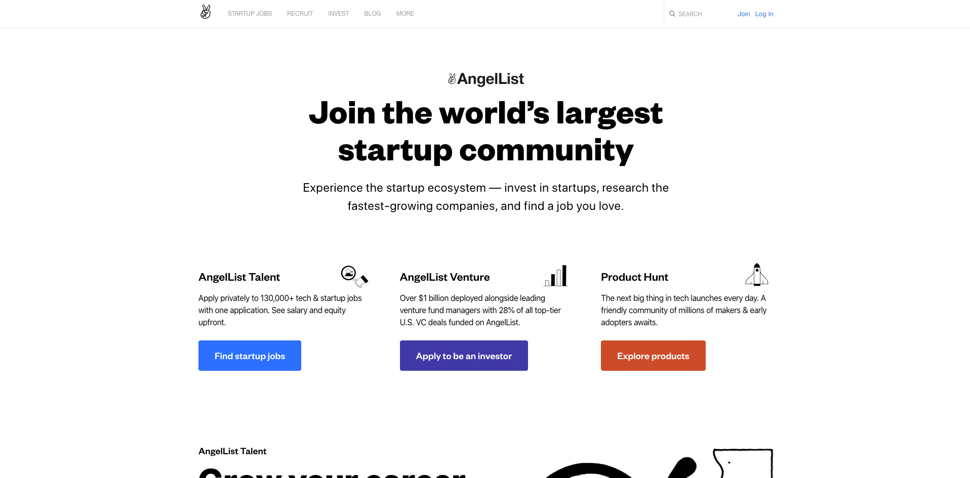 angelList website homepage screenshot