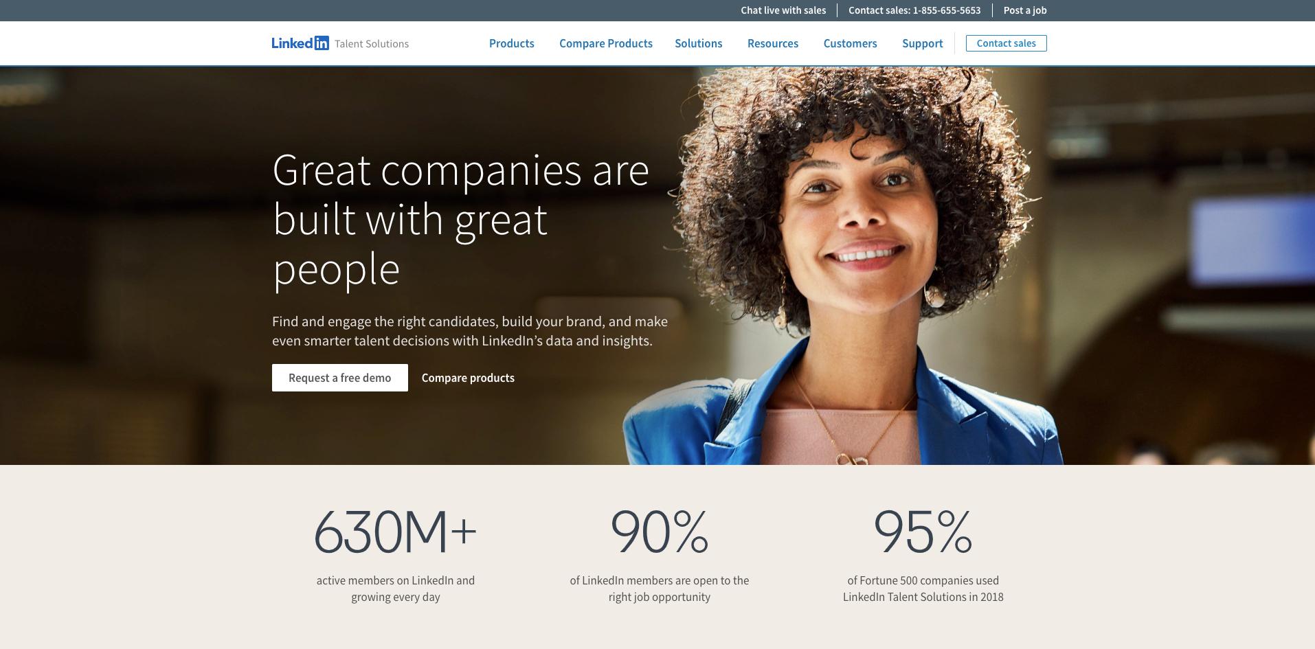 LinkedIn recruiting website homepage screenshot