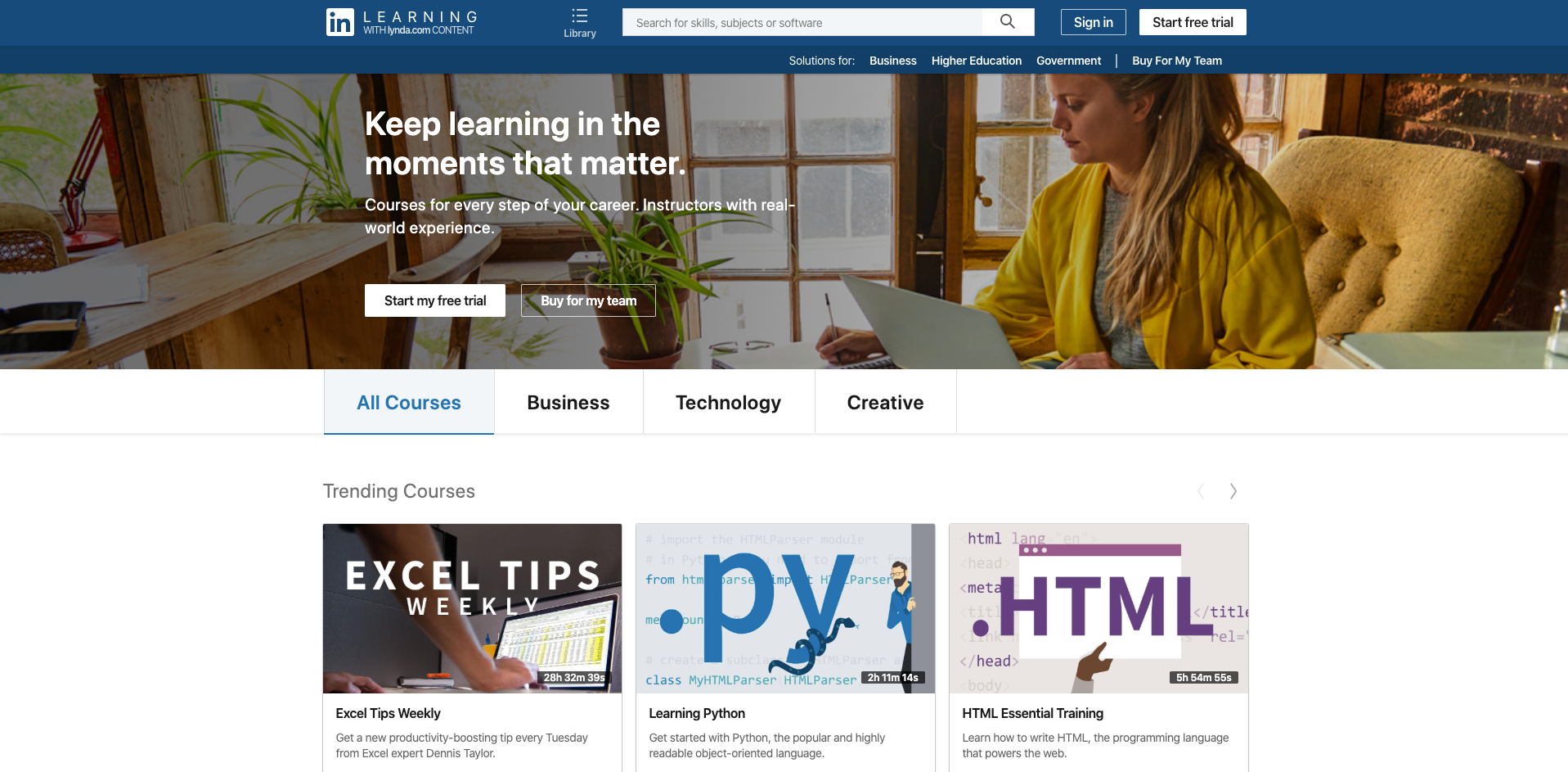 linkedIn learning website homepage screenshot