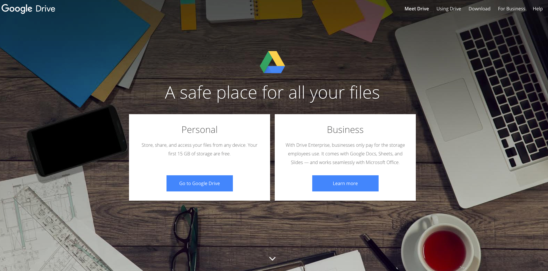 google drive homepage screenshot