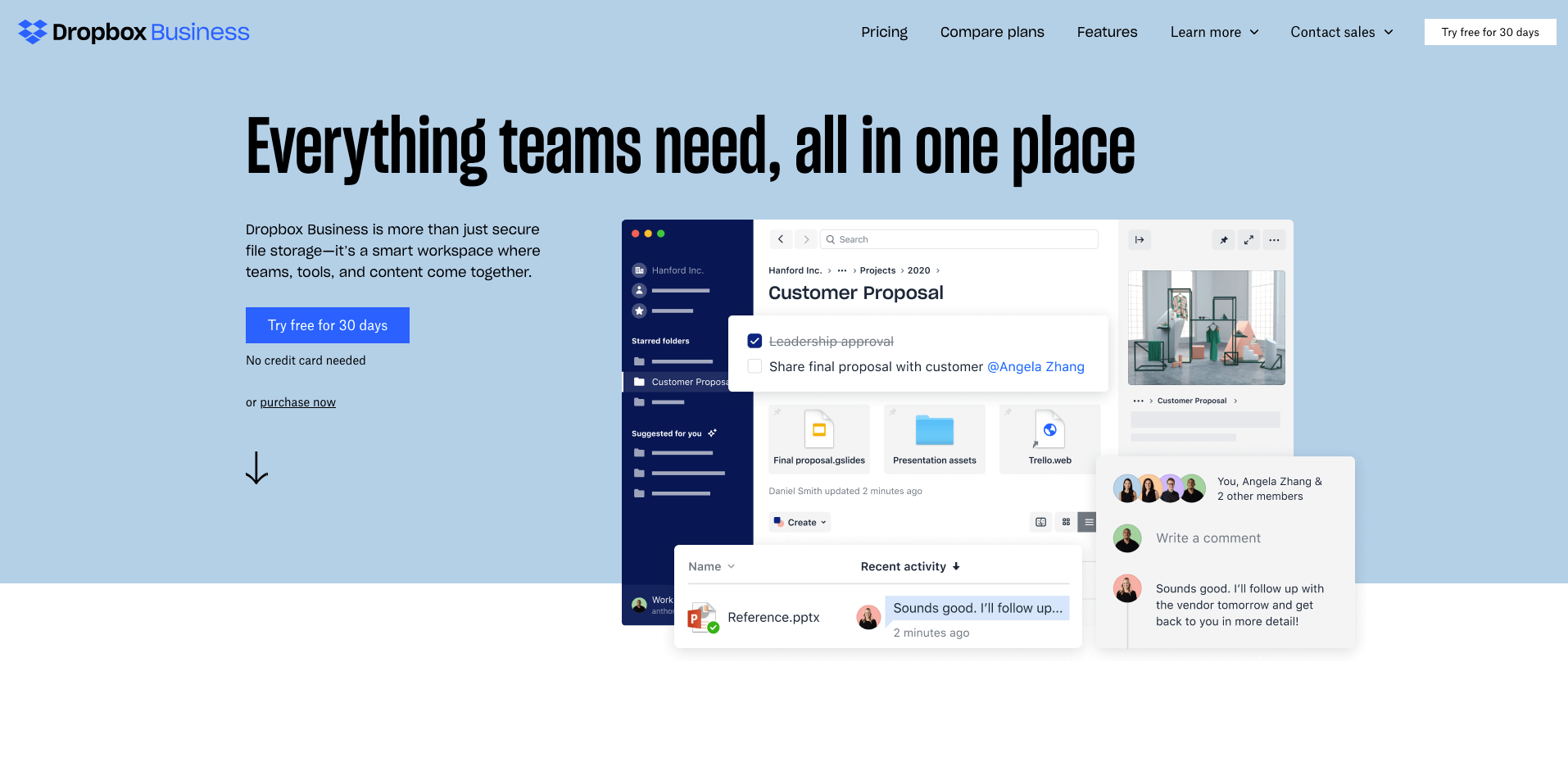 dropbox homepage screenshot