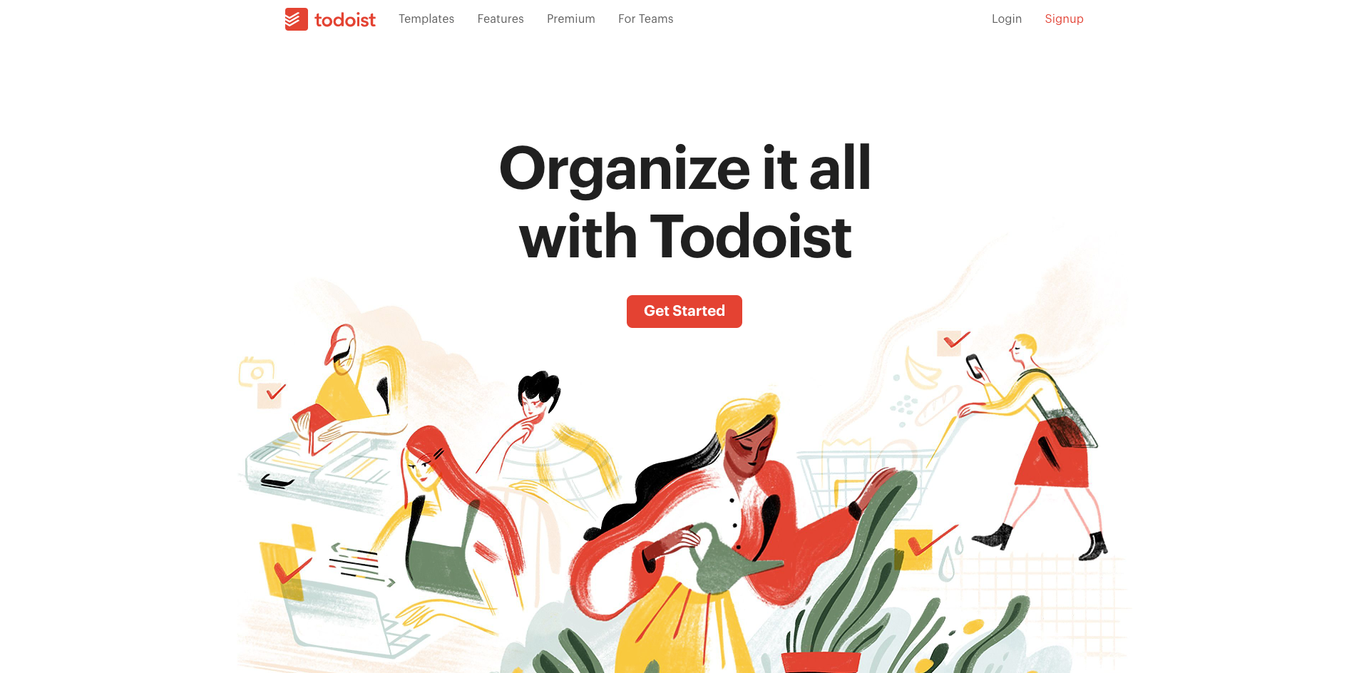 todoist homepage screenshot