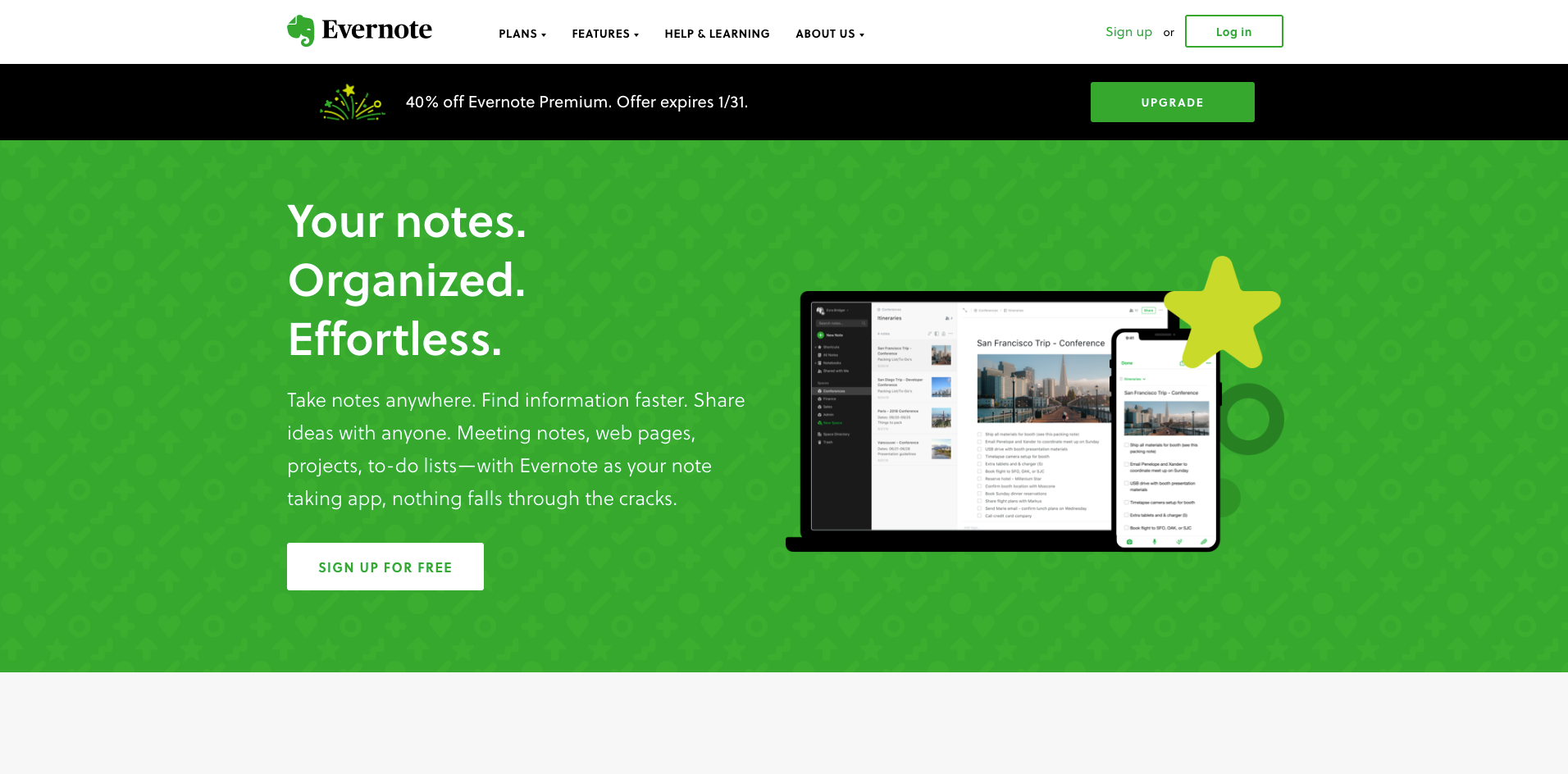 evernote homepage screenshot
