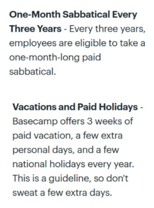 Basecamp offers paid vacations and more