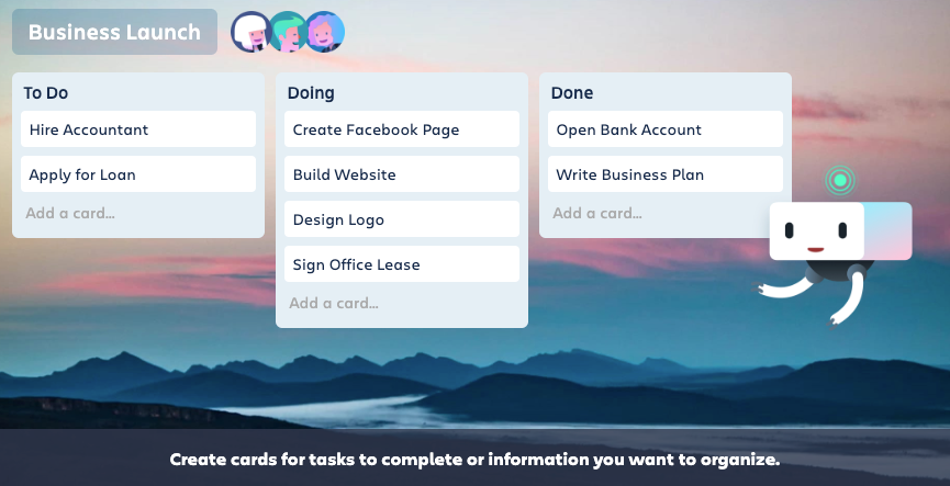 View of a Trello kanban board for a business launch plan