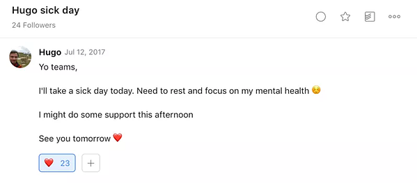 Doist encourages employees to take sick days for mental health