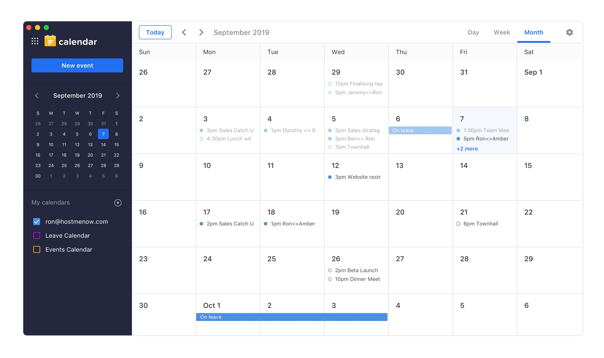 Flockmail's Calendar view