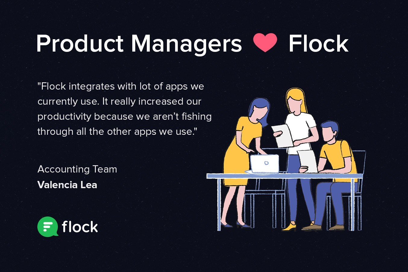 Graphic: Product Managers heart Flock. Featuring a testimonial from a Flock user.