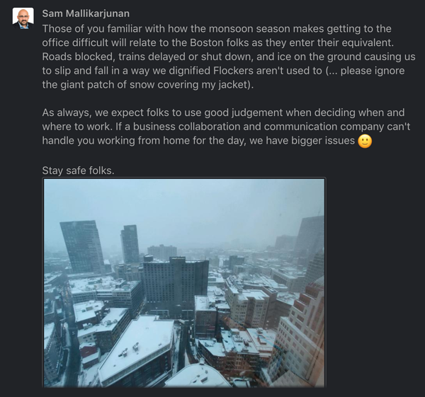Message saying to work from home if people prefer and a picture of a snowy view