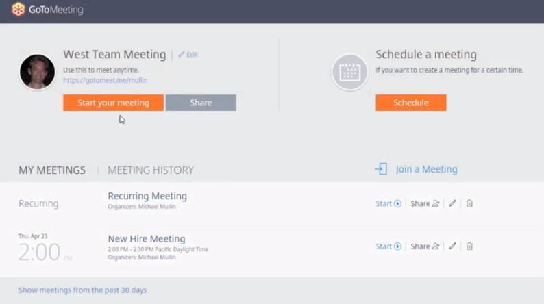 Quick meetings via GoToMeeting