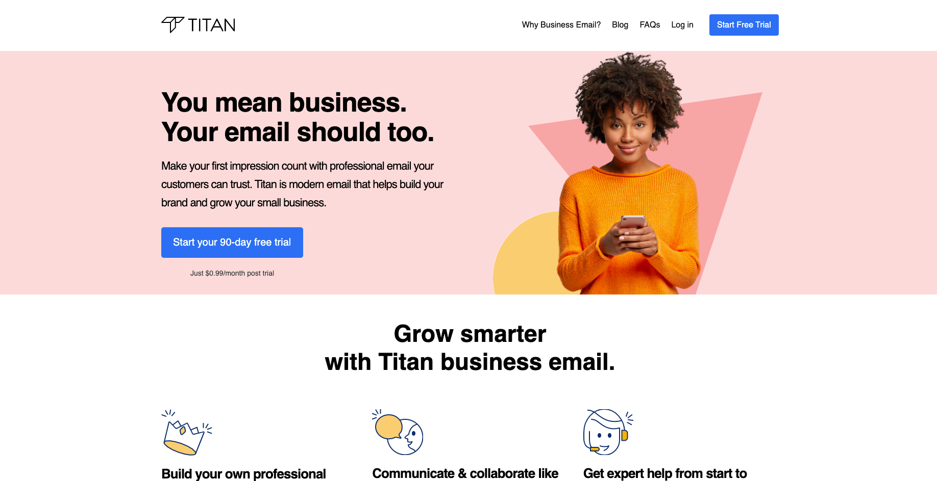 titan email website homepage screenshot