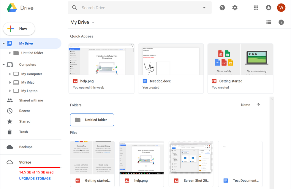 Google Drive's main interface