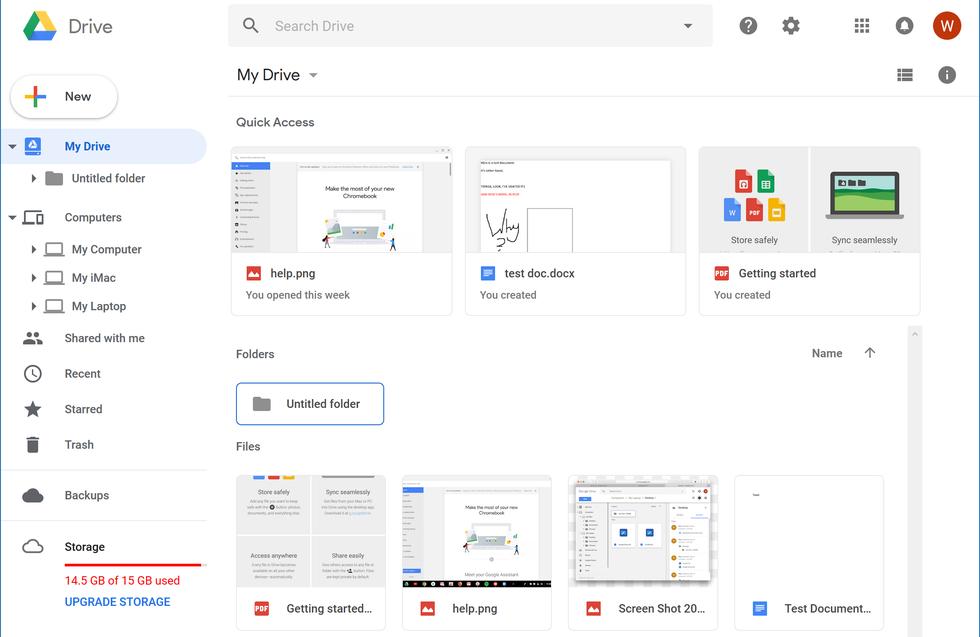 Google Drive's main interface