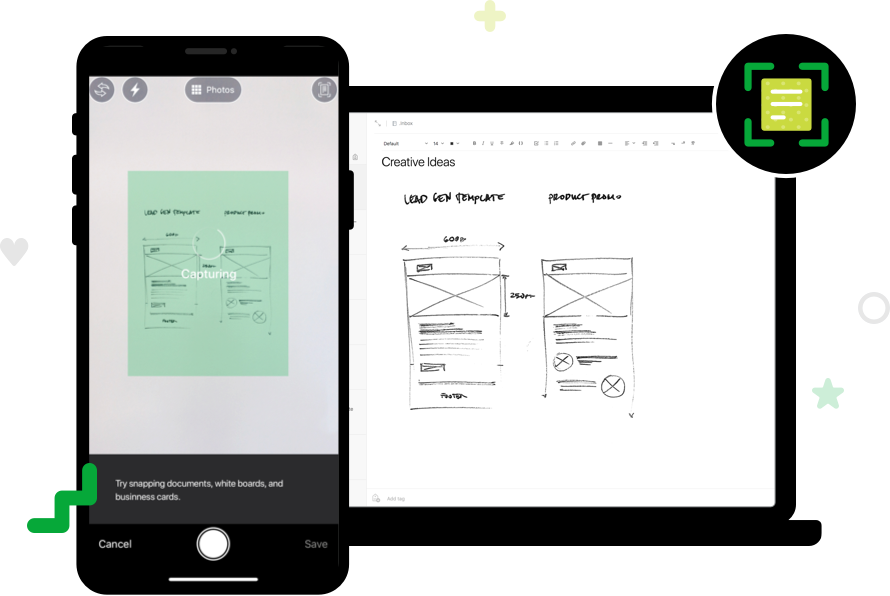 View of Evernote where someone has drawn a diagram, and the diagram is available on a phone and computer