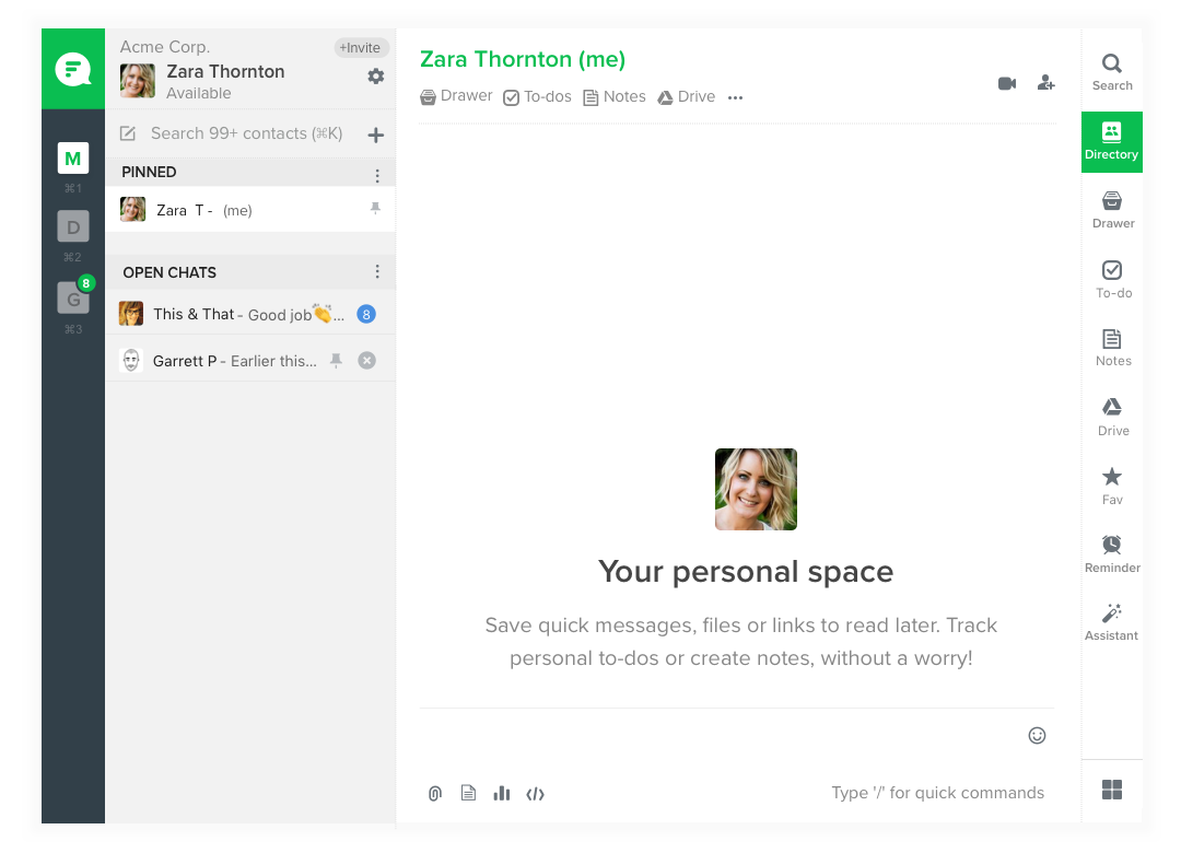 Your personal space in Flock