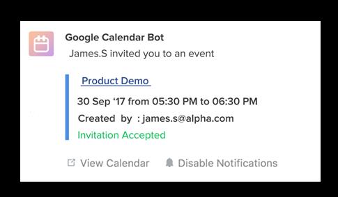 Screenshot: Get notifications for Google Calendar for Flock