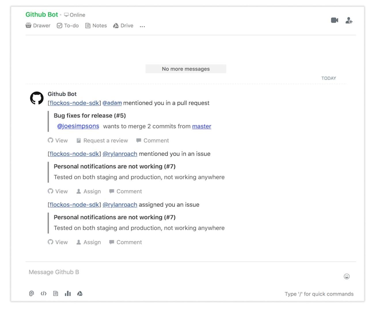 Screenshot: Github Bot on Flock