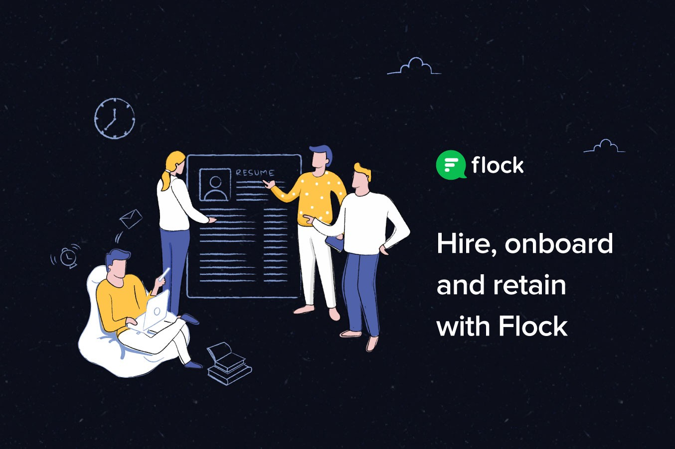 Graphic: hire, onboard and retain with Flock