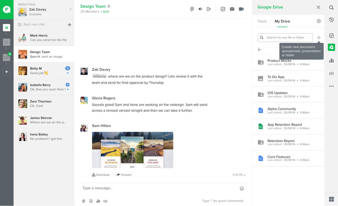 Screenshot: Google Drive integration with Flock