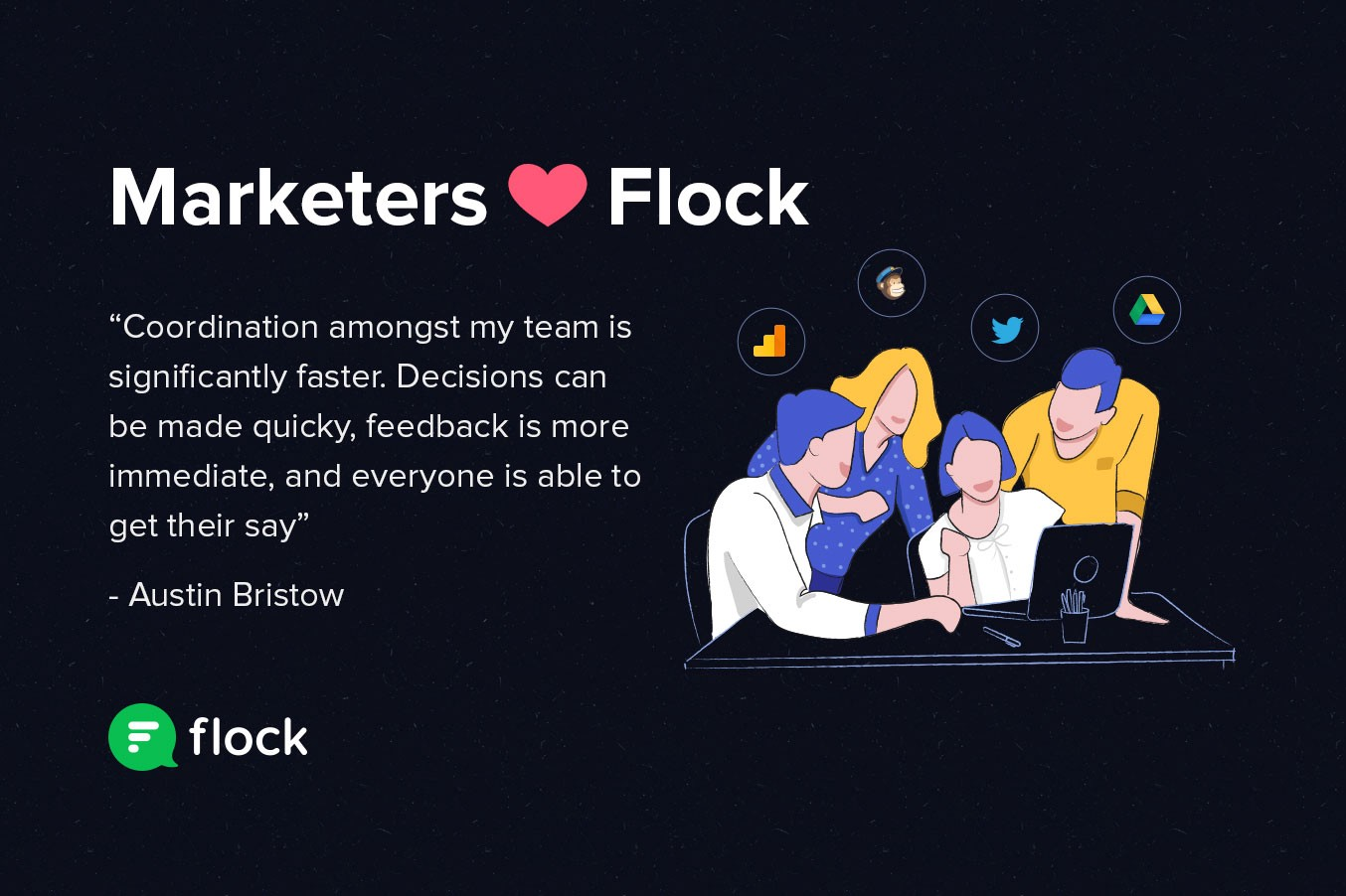 Graphic: marketers heart Flock. With customer testimonial