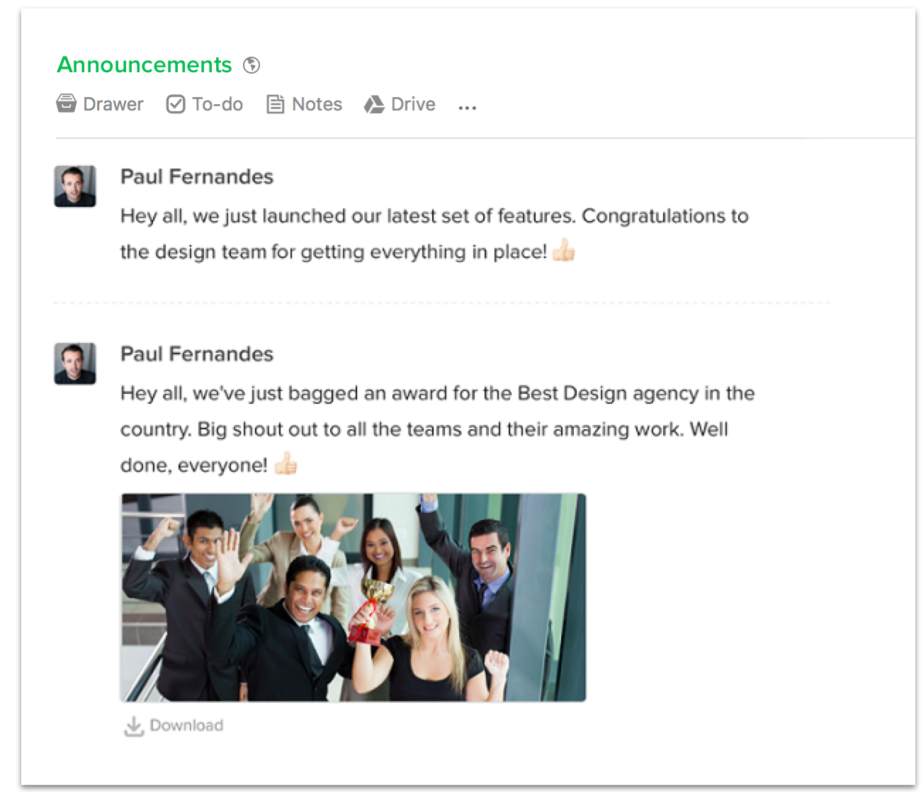 Team-wide announcements in Flock