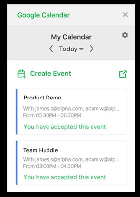 Screenshot: Create an event in Google Calendar for Flock