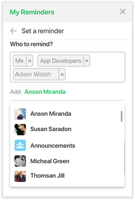 Screenshot: assign reminders to individuals in Flock