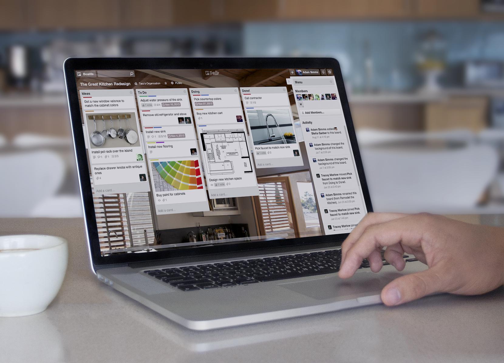 Open Macbook running Trello on a web browser