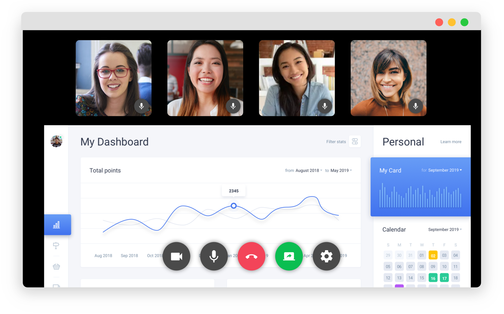 Video conference with screen sharing in Flock